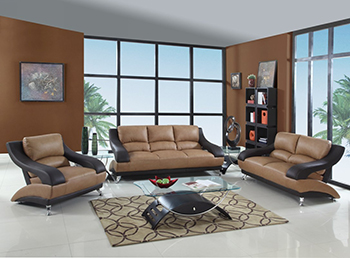Global United Furniture 982 Leather Match 3PC Sofa Set in Two-Tone color.