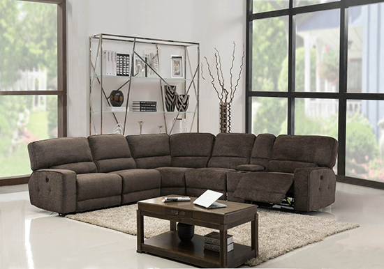 Global United 9906 - Chanille Power Recliners Sectional in Brown Color.