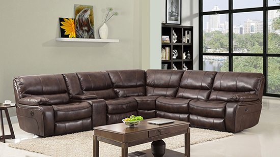 Global United 9931 - Leather Air Power Recliners Sectional in Dark Brown Color.
