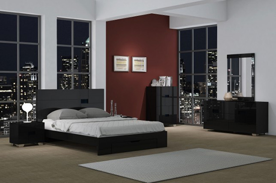 Global United Aria - 6PC Bedroom Set in Black Color.