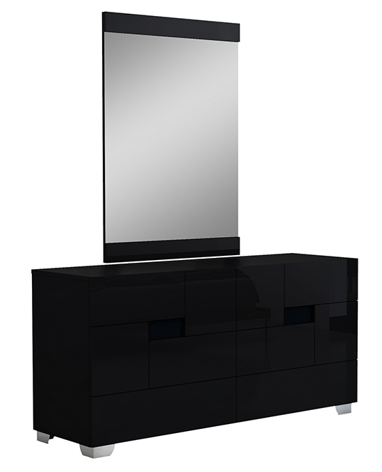 Global United Aria - Dresser with Mirror in Black Color.