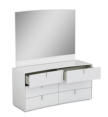 Global United Bellagio - Dresser with Mirror in White Color.