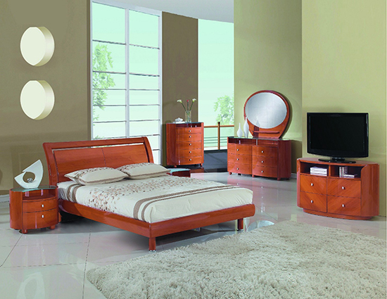 Global United Cosmo - 5PC Bedroom Set in Cherry Color.
