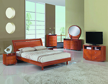 Global United Cosmo - 4PC Bedroom Set in Cherry Color.