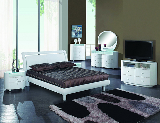 Global United Cosmo 5pc Bedroom Set In White Color