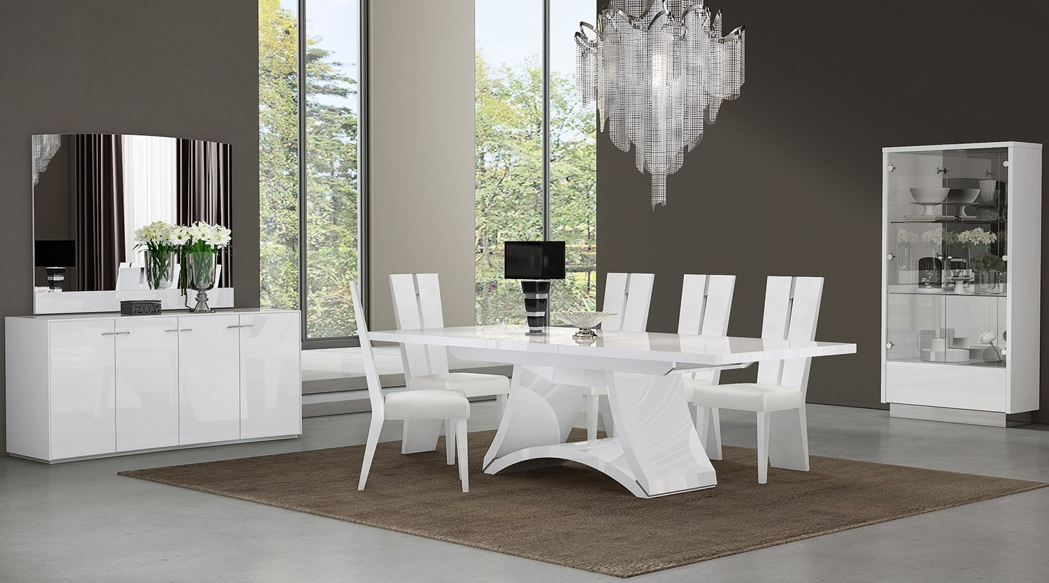 Global United D313 Dining Table And 6 Chair Set In White
