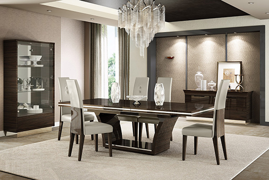 Global United D832 - Dining Table and 6 Chair Set in Wenge Color.