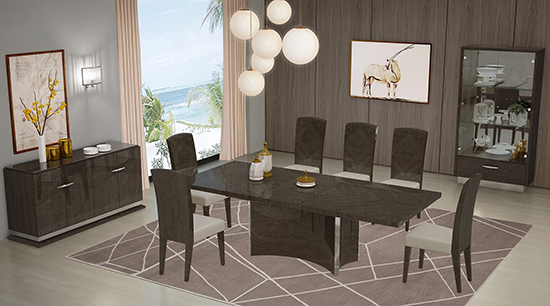 Global United D845 - Dining Table and 6 Chair Set in Gray Color.