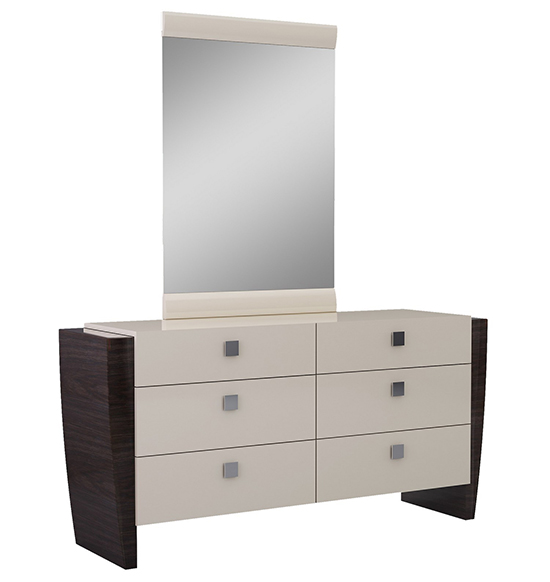 Global United Paris - Dresser with Mirror in Beige Color.