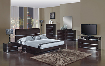 Global United Wynn - 4PC Bedroom Set in Wenge Color.