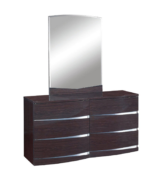 Global United Wynn - Dresser with Mirror in Wenge Color.