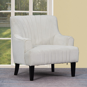 Global United A32 - Polyester Accent Chair in White Color.