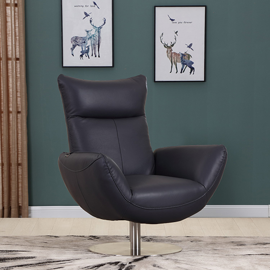 Global United C74 - Genuine Italian Leather Lounge Chair in Navy color.