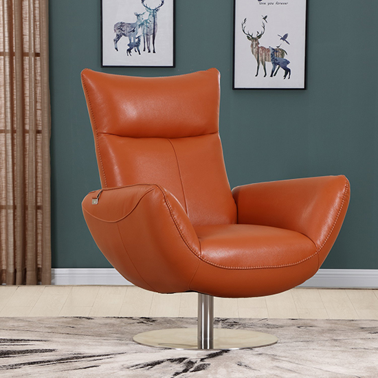 Global United C74 - Genuine Italian Leather Lounge Chair in Orange color.
