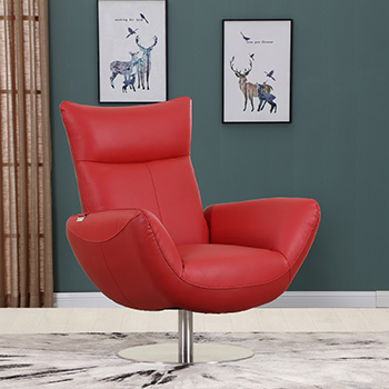 Global United C74 - Genuine Italian Leather Lounge Chair in Red color.