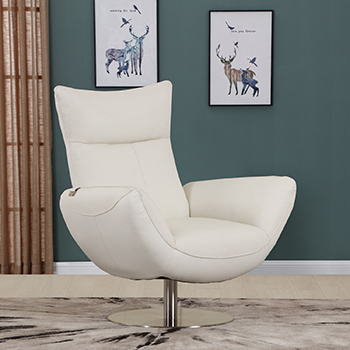 Global United C74 - Genuine Italian Leather Lounge Chair in White color.