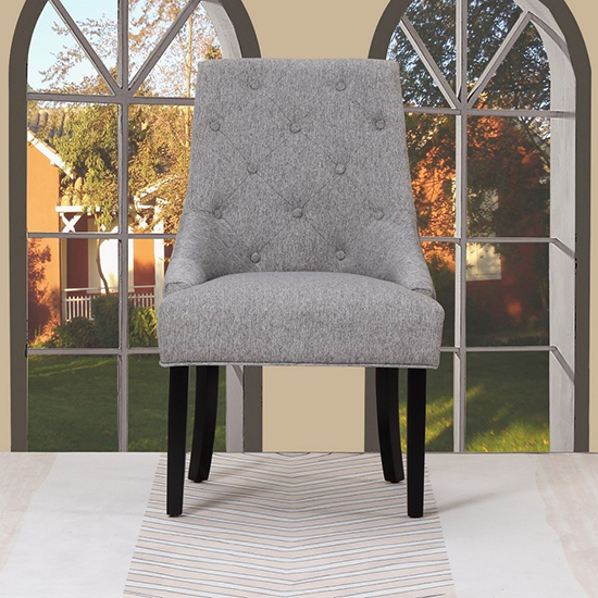 Global United D9 - Linen Accent Chair in Light Gray Color.