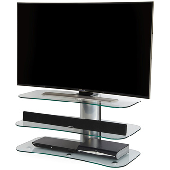 "Off The Wall Arc 1000 TV Stand up to 55"" TVs in silver finish. off-the-wall-arc-1000"