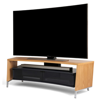 "Off The Wall Curve 1500 TV Stand up to 65"" TVs in Oak finish. off-the-wall-curve-oak"