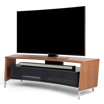 "Off The Wall Curve 1500 TV Stand up to 65"" TVs in Walnut finish. off-the-wall-curve-walnut"