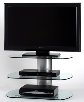 "Off The Wall Skyline 750 TV Stand up to 52"" TVs in silver finish. off-the-wall-skyline-750-silver"