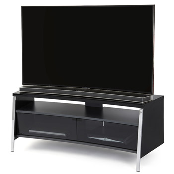 "Off The Wall Tangent 1300 TV Stand up to 55"" TVs in High Gloss Black finish. off-the-wall-tangent-black"
