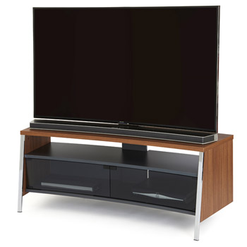 "Off The Wall Tangent 1300 TV Stand up to 55"" TVs in Walnut finish. off-the-wall-tangent-walnut"
