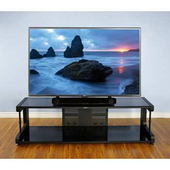 "VTI 20844 - 20800 Series TV Stand up to 80"" TVs with Black Frame and Black Glass."