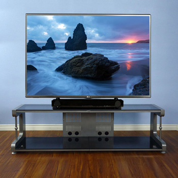 "VTI 20864 - 20800 Series TV Stand up to 80"" TVs with Silver Frame and Black Glass."