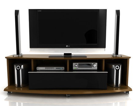 "Modloft Function Dumont TV Stand up to 70"" TVs in Imbuia and Black finish. Modloft-Dumont-IB"