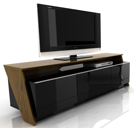 "Modloft Function Fusion TV Stand up to 75"" TVs in Imbuia-Black finish. Modloft-Fusion-IB"