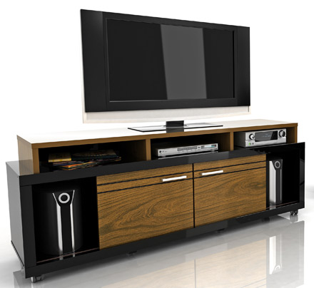 "Modloft Function Milano TV Stand up to 70"" TVs in Imbuia-Black finish. Modloft-Milano-IB"