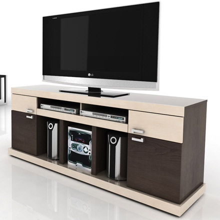 "Modloft Function Vision TV Stand up to 65"" TVs in Tobacco-Maple finish. Modloft-Vision-TM"