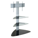 "26"" to 32""–50"" Stand with 2 Glass Shelves (Silver)"