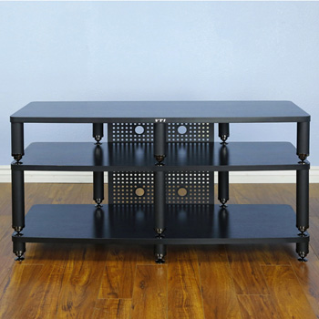 "VTI 35444 - 35000 Series Professional Audio Video TV Stand up to 60"" TVs with Black Poles and Black Shelves."