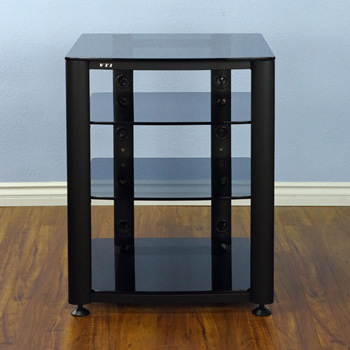 VTI HGR404BB - 4 Shelf Audio Rack in Black frame and Tinted Black Glass.