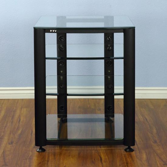Vti Hgr404bw 4 Shelf Audio Rack In Black Frame And Clear